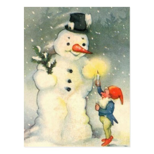 Elf and Snowman Vintage Christmas Postcard