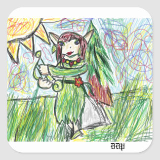 Elf art square sticker