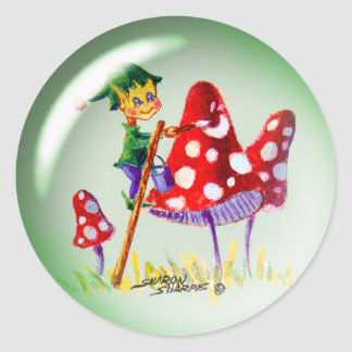 ELF BUBBLE & MUSHROOMS by SHARON SHARPE Round Sticker