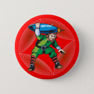 Elf Carrying Christmas Ornament 6 Cm Round Badge