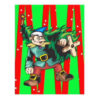 Elf Carrying Christmas Tree 21.5 Cm X 28 Cm Flyer