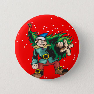 Elf Carrying Christmas Tree 6 Cm Round Badge
