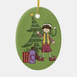 Elf Ceramic Christmas Ornament