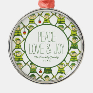 Elf Christmas Pattern Christmas Ornament