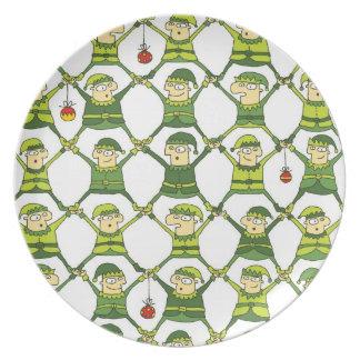 Elf Christmas Pattern Plate