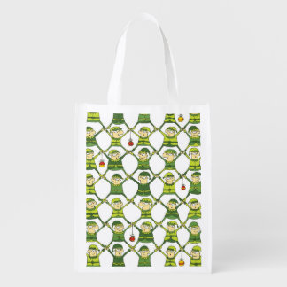 Elf Christmas Pattern Reusable Grocery Bag