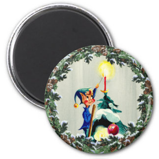 ELF, CONES & CHRISTMAS TREE by SHARON SHARPE Magnet