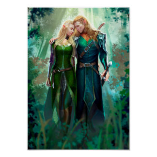 Elf Couple Poster
