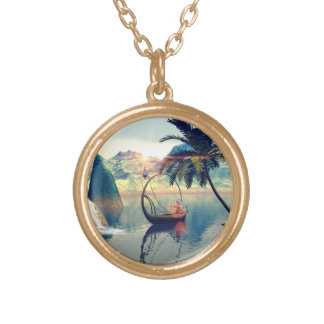 Elf drives his lamp boat gold plated necklace