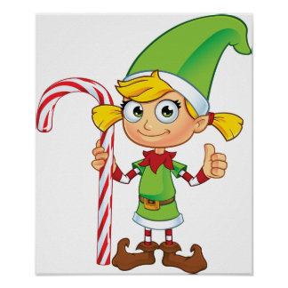 Elf Girl With Candy Cane Poster