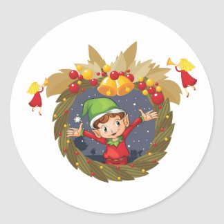 Elf In A Christmas Wreath Stickers
