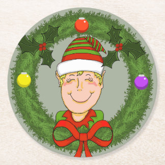 Elf in Wreath Holiday Coaster