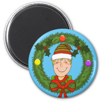Elf in Wreath Holiday Magnet