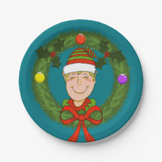 Elf in Wreath Paper Plates 7 Inch Paper Plate