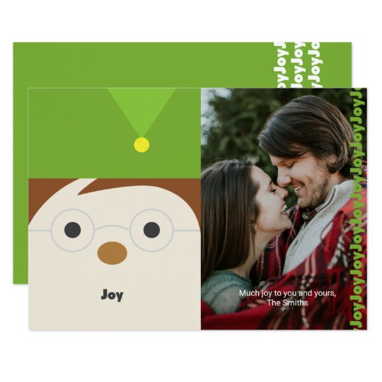 """Elf """"Joy"""" Illustration Holiday Photo Card"""
