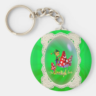 ELF, LACE AND LIGHT RAYS by SHARON SHARPE Basic Round Button Key Ring