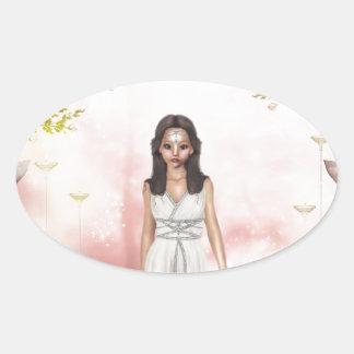 Elf Lady Awaiting Oval Sticker