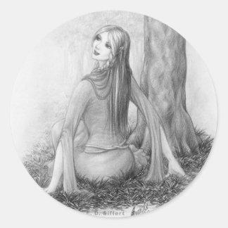 Elf Lady Round Sticker
