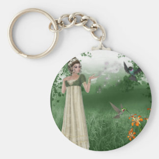 Elf Magic in Grass Field with Hummingbirds Basic Round Button Key Ring