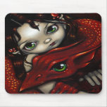 """Elf Maiden and Her Dragon"" Mousepad"