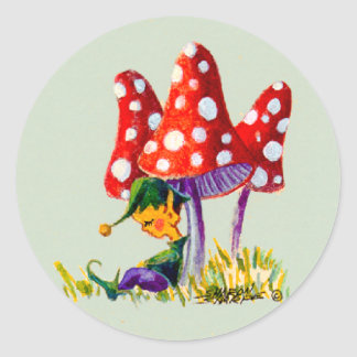 ELF & MUSHROOM  by SHARON SHARPE Classic Round Sticker