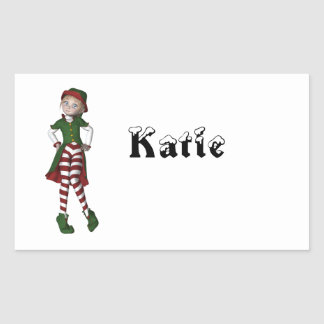 Elf  N  Christmas Rectangular Sticker