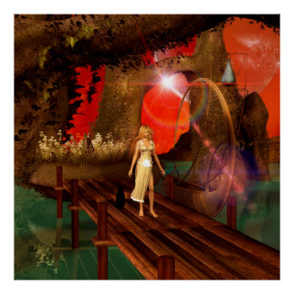 Elf on a jetty with a lamp boat poster