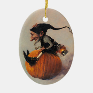 ELF ON A PUMPKIN CHRISTMAS ORNAMENT