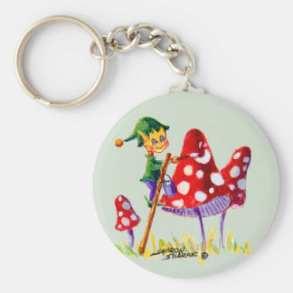 ELF PAINTIN MUSHROOM by SHARON SHARPE Key Ring