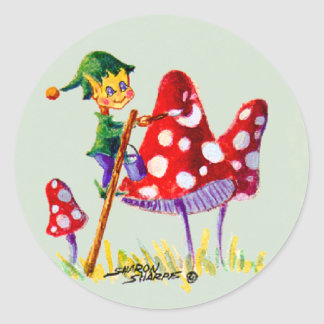 ELF PAINTING MUSHROOM by SHARON SHARPE Classic Round Sticker