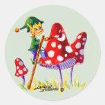 ELF PAINTING MUSHROOM by SHARON SHARPE Round Sticker