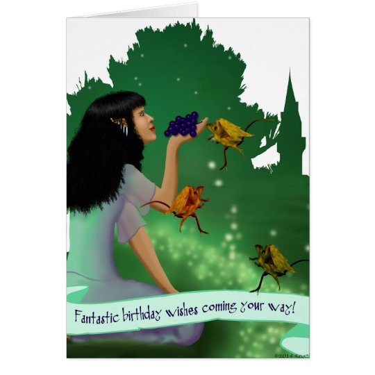 Elf Princess Feeding Dragons Grapes Birthday Card