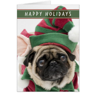 Elf Pug Christmas card
