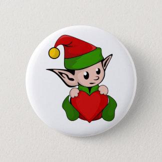 Elf red heart 6 cm round badge
