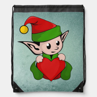 Elf red heart drawstring bag