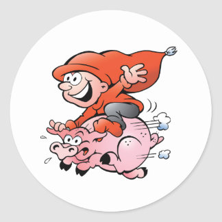 Elf Riding A Pig Stickers