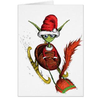 Elf Riding Sleigh Greeting Card