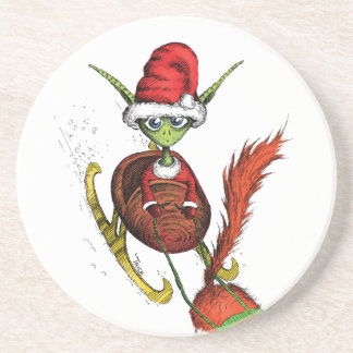 Elf Riding Sleigh Drink Coasters