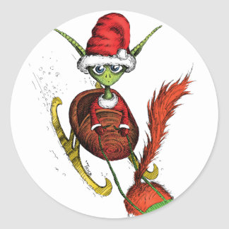 Elf Riding Sleigh Round Sticker