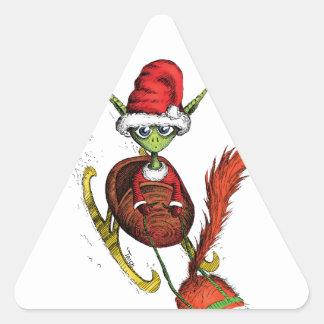 Elf Riding Sleigh Triangle Stickers