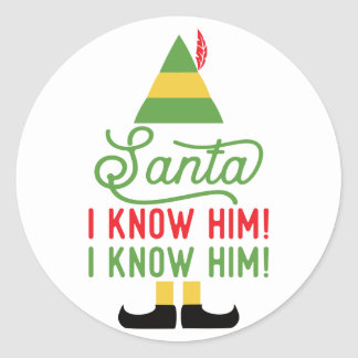 Elf Santa I know Him Christmas Stickers