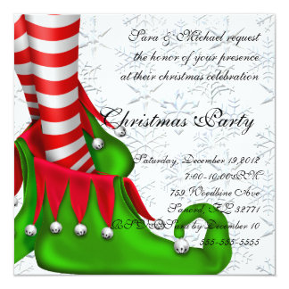 elf shoe christmas invitation