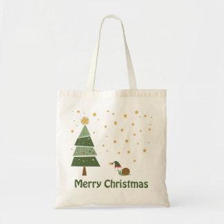Elf Snail Christmas Scene Budget Tote Bag