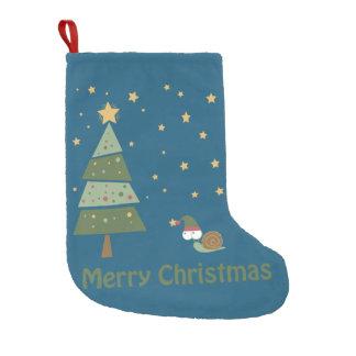 Elf Snail Christmas Scene Small Christmas Stocking