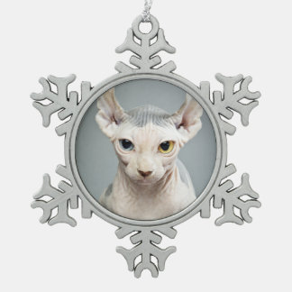 Elf Sphinx Cat Photograph Snowflake Pewter Christmas Ornament