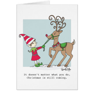 Elf & Stubborn Reindeer Greeting Card