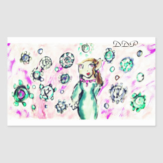 Elf winter art rectangular sticker