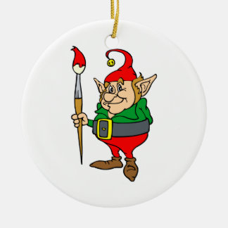 elf with giant paintbrush christmas ornament