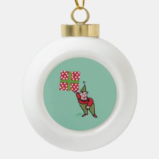 Elf With Polka Dot Gift Christmas ball Ceramic Ball Christmas Ornament