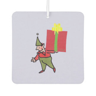 Elf With Red Box car air freshener (2-sided)